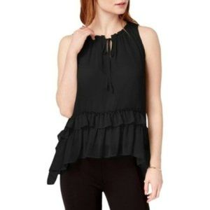 Bar III Women's Ruffled Hi-Low Blouse, Black, L